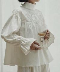 コットン ギャザーフリル袖ブラウス