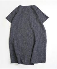 リネンの丸襟ワンピース 半袖