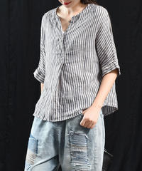 ストライプ    Vネック   Tシャツ