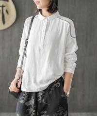 綿麻 着回せるホワイトブラウス 長袖シャツ