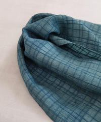 後染めストール タッサー格子ミニ 青緑と藍 3608DGr / 3608I