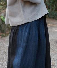 kotiスカート 麻シルク 2トーン 青&黒 6900lBt