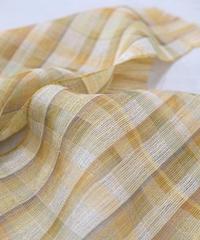 ストール 二重織り ずり出し格子 黄色×緑 2370Y