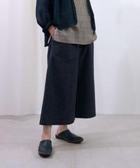 パンツ ショートワイド 綿タビー 紺 6857CtBl