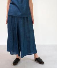 パンツ  プレーン  タッサーシルク  藍