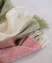 ストール  ピュアパシミナ  ミニ  つづら織り  グリーン&ピンク