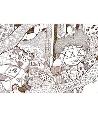 ライブコマース【Pちゃん線画イラスト】Pちゃん自筆サイン付き「A3サイズ」