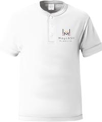 【MUGAデザインシリーズ②ホワイト】ヘンリーネックTシャツ|5004-01