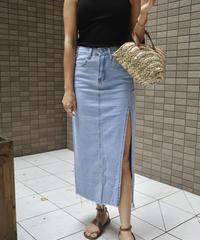 [再再入荷] Side Slit Denim Skirt