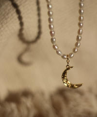 [Silver925] Moon Pearl Chain Necklace