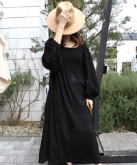 Square Sheer Sharring Onepiece /Black