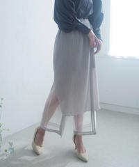 see-through layered pants (light beige)