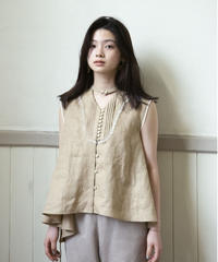 row button sleeveless linen blouse ( yellow beige )