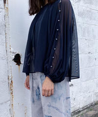 rusty blue tulle blouse ( navy ) <20ss-bl-01-na>