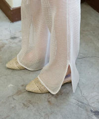 cotton net pants for layered ( light beige )