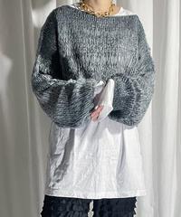 gradation cropped knit (gray)