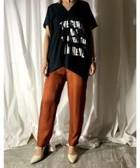 gauze logo print blouse  (black)