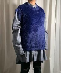 【special price】feather yarn big vest  ( navy )