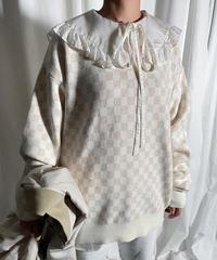 checker patern big knit (ivory)