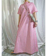 stripe super long shirt-dress (red)
