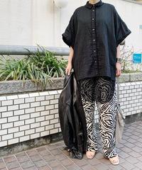 gauze big shirt ( black )