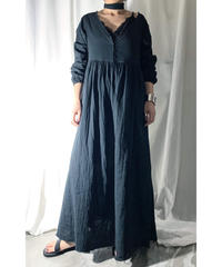 gauze maxi-dress ( black )
