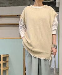 【re stock】damege big knit vest (ivory)
