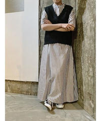 stripe super long shirt-dress  (black)
