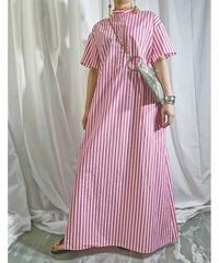 stripe super long shirt-dress (red)