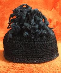 《liTTLe sHAman》 ウール チョウチンアンコウ帽・ブラック/ブランドステッカー付き