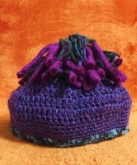《liTTLe sHAman》 ウールチョウチンアンコウ帽/ベリーパープル(ムラサキ)/ブランドステッカー付き