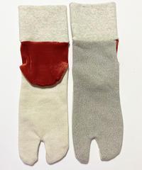 《ぺーどろりーの》足袋靴下(シルバーラメ×かかと赤ベロア)