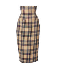 corset tight  skirt -beige plaid-