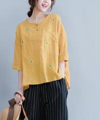 夏桜*Uネック ゆったり サイズ コットン リネン Tシャツ ホリデーカジュアルシャツ ns190701-36