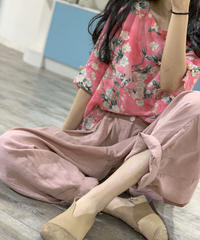 夏桜*リネンレトロな ワイド  パンツ ホリデーカジュアルパンツ ns20200503-002