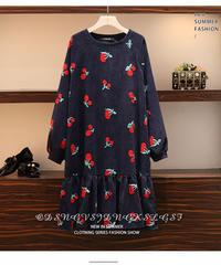 夏桜*ゆったりサイズ コーデュロイ ロング スリーブ ドレス ns190902-23