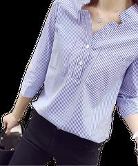【緊急処分】夏桜*ストライプ シャツ 7分袖 オフィス 青 きれいめシャツ ns553880