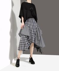 夏桜*コラージュ チェックスカート 変更パターン モダンスタイル スカート オシャレ 黒チェック フレアースカートns190624-014