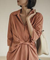 夏桜*ミドル丈の緩いねじれたデザインのウエストシャツドレスns20200919-07