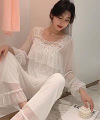 夏桜*モーダル生地プリンセススタイルのレース ホームウェアパジャマ ns20200503-005