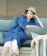 夏桜*ルーズブルーのミドル丈ワイルドリネンコットンドレス ns20200504-007