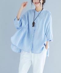 夏桜*ビックシルエット バンドカラー シャツ 体型カバー カジュアル シャツ ns190725-11