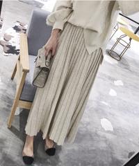 夏桜*ニットプリーツスカート女性のAラインウールロングスカートns20200914-07