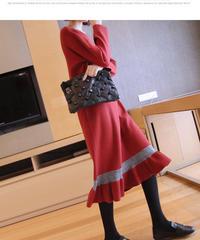 夏桜*セーター スカート ニット ワンピース ns190905-6