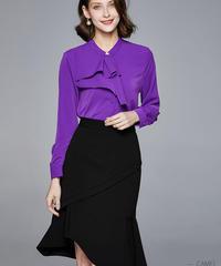 夏桜*ラウンドネックフリルブラウス無地不規則なフィッシュテールスカートスーツ女性ツーピース  ns20200304-004