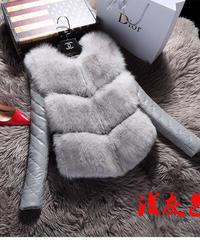 夏桜*模造キツネの毛皮のステッチPU毛皮のコート ジャケット ns191117-002