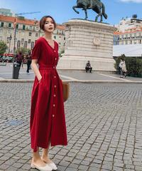 夏桜*ヨーロッパ風 Vネック シャツドレス ロング スカート ワンピース コットンリネン ホリデーカジュアルワンピース ns190701-01
