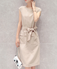 夏桜*フォーマル オフィス 袖なし ワンピース ns553850