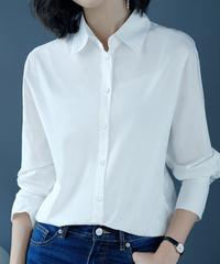 夏桜*コットン100% カジュアル ブラウス シャツ きれいめ 白シャツ ns190710-01
