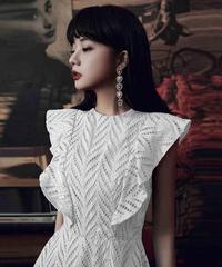 夏桜*白いイブニングドレス二次会ドレス ns20200802-04